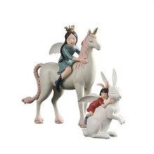 Home decor accessories unicorn creative resin rabbit animal ornaments gift  fairy garden miniatures kids room cute figurine