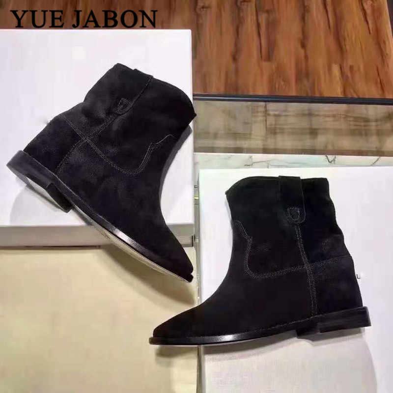 Black Women Suede Ankle Boots Pointed
