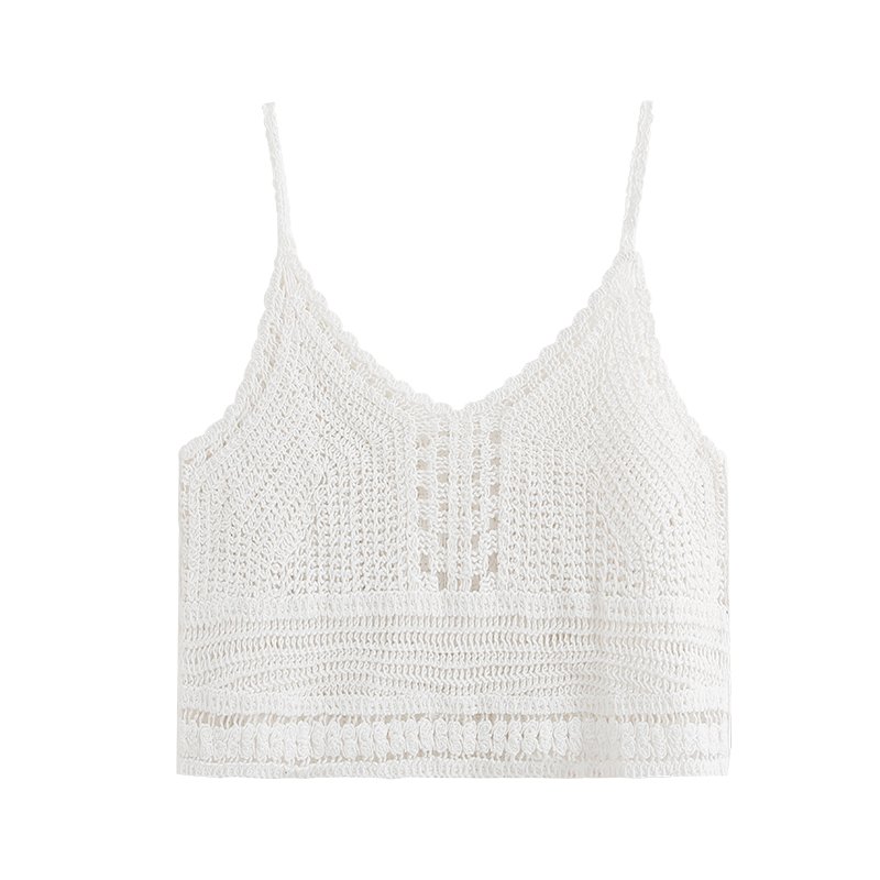 Bohemian <font><b>Sexy</b></font> Knitted Camis Summer Women Tank Summer Tops For Women Fashion Top <font><b>Debardeur</b></font> <font><b>Femme</b></font> <font><b>Sexy</b></font> White Tank Top Boho HH50BX image
