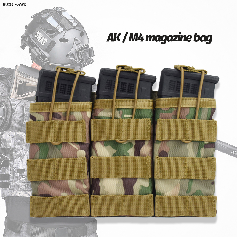 AK <font><b>M4</b></font> Single / Double / Triple Molle <font><b>Magazine</b></font> Pouch Tactical Vest Nylon Cartridge Pouches Vest Accessories Bag image
