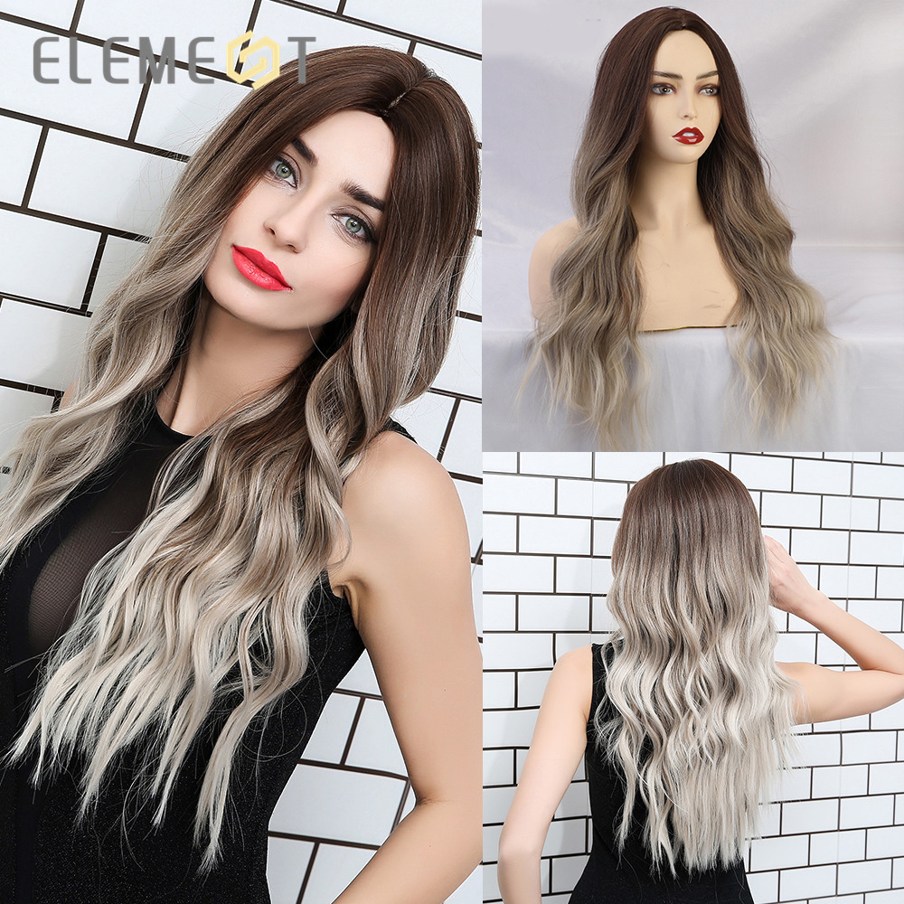 Element Synthetic Dark Root Light Brown Ombre Grey Long Wavy Hair Wigs Center Part Cosplay Costume Wig For White Black Women