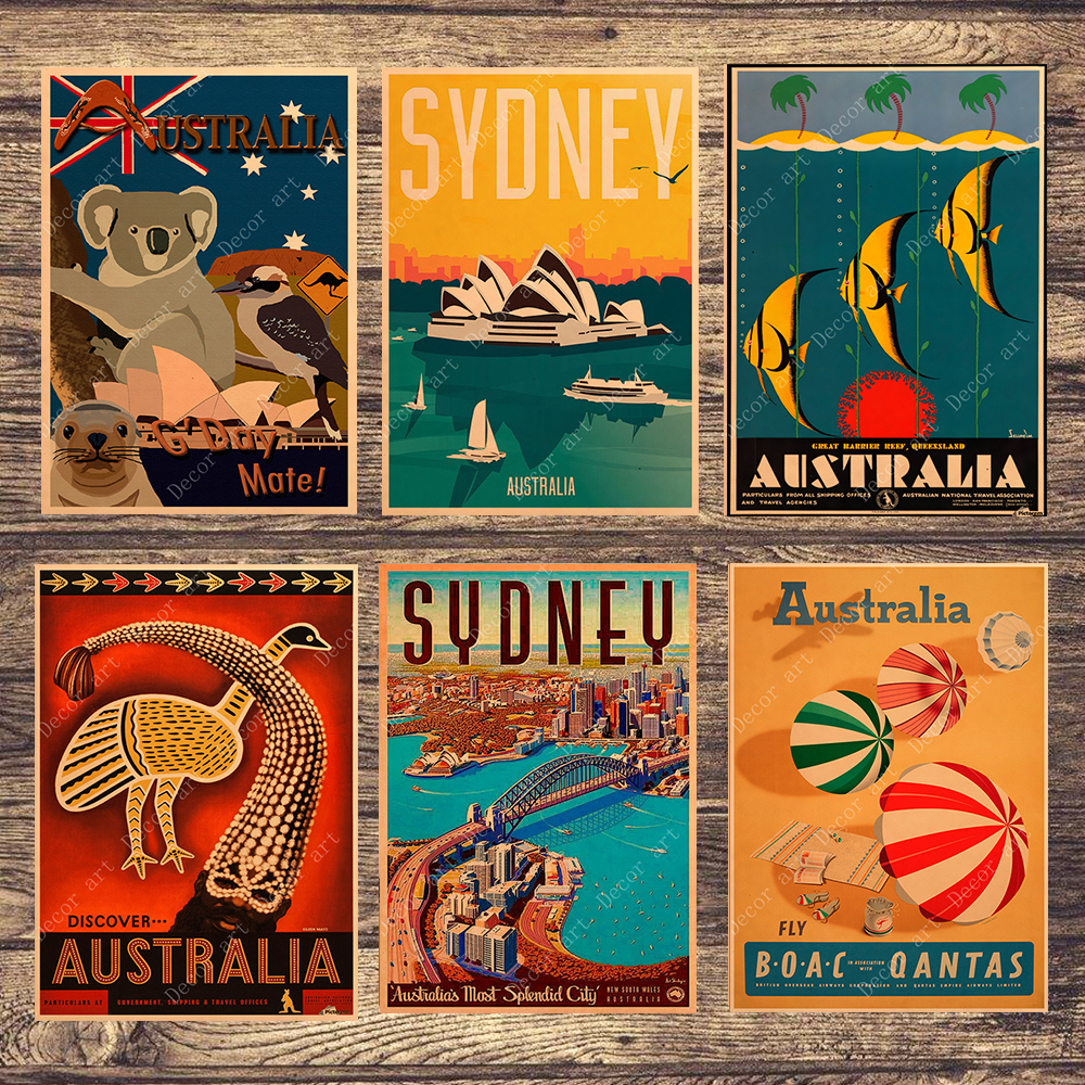 Travel To Australia Sydney Koala Canvas Painting Vintage Wall Pictures Kraft Posters Coated Wall Stickers Home Decoration Gift