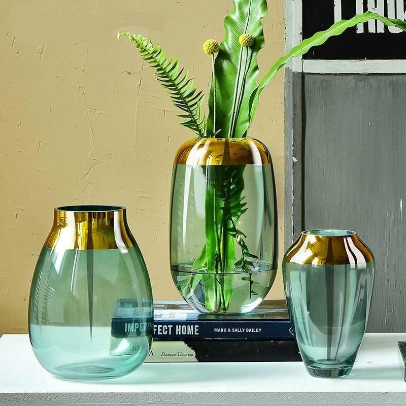 Modern Minimalist Transparent Glass Vase Decoration Living Room Table Green Phnom Penh Flower Home Decoration Furnishings