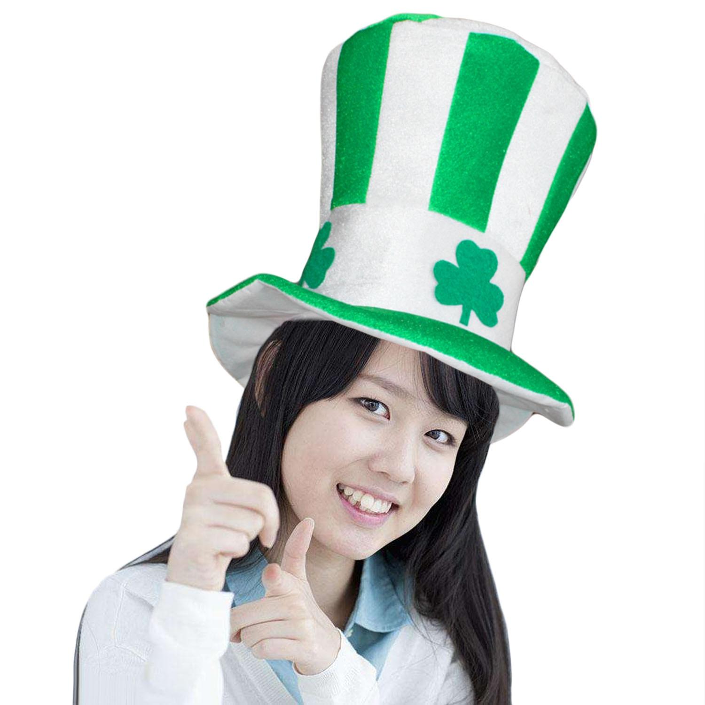 Green St Patricks Day Leprechaun Top Hat Irish Fun Saint Patrick Costume Cap Clover Hats Photo Booth Prop