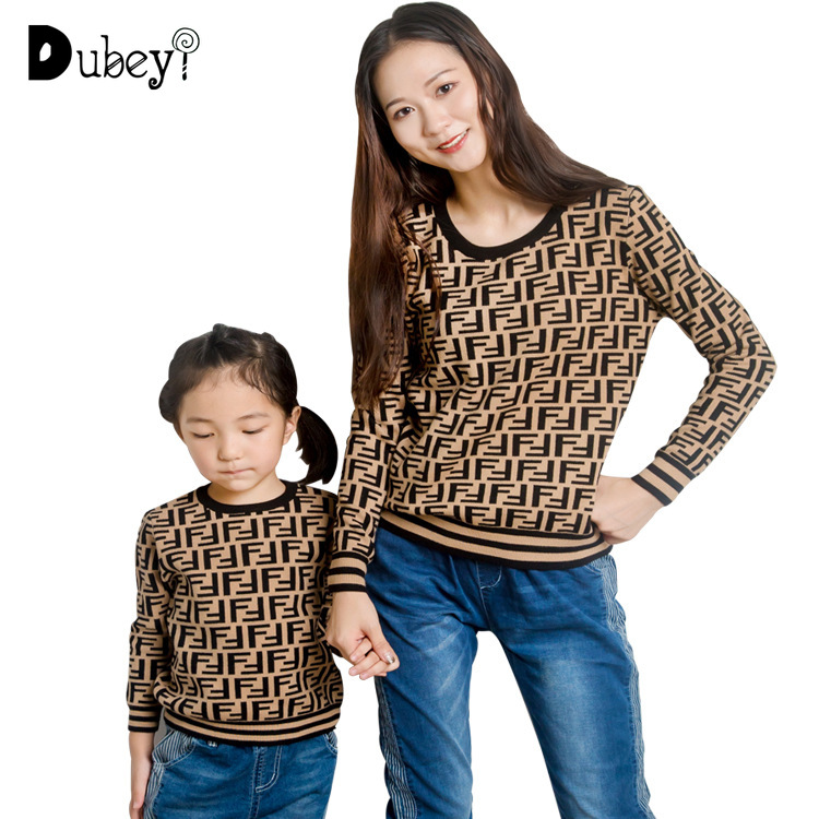 Letter Print Family Matching Sweater For Kids Boutique Fall Winter Boy Top Knit Clothing For Mommy And Me Matching Clothes