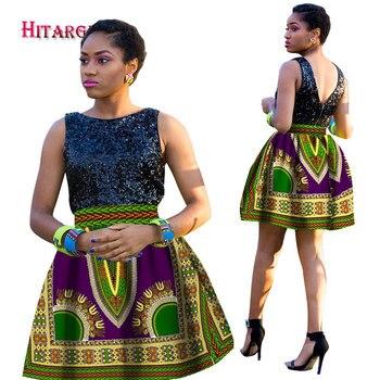 цена на Stock Size Low Price Women African Dashiki Hippie High Waist Skirt Flared Pleated Short Skirt WY1247