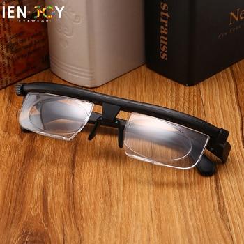 IENJOY TR90 Double Vision Focus Dial Adjustable Glasses -6d to +3D Myopia Presbyopia Eyeglasses Men Women Reading Glasses