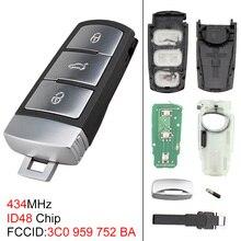 434MHz 3 Buttons Keyless Uncut Flip Key Remote Fob with ID48 Chip 3C0959752BA Fit for VW Passat B6 3C B7 Magotan CC 2006-2011 недорого