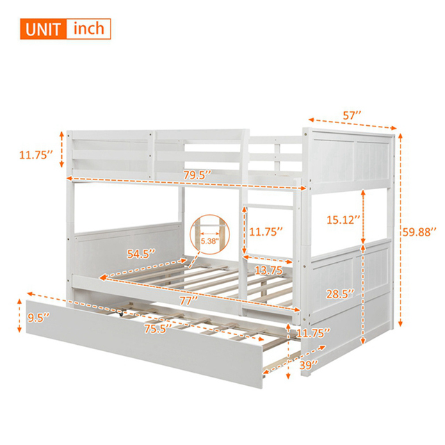 Bunk Bed with Twin Size Trundle w/  Ladder  6