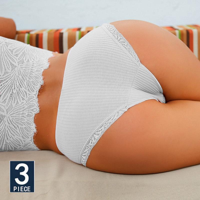 M XXL 3PCS Cotton Underwear Women's Panties Set Comfort Underpants Floral Lace Briefs For Woman Sexy Low Rise Pantys Intimates
