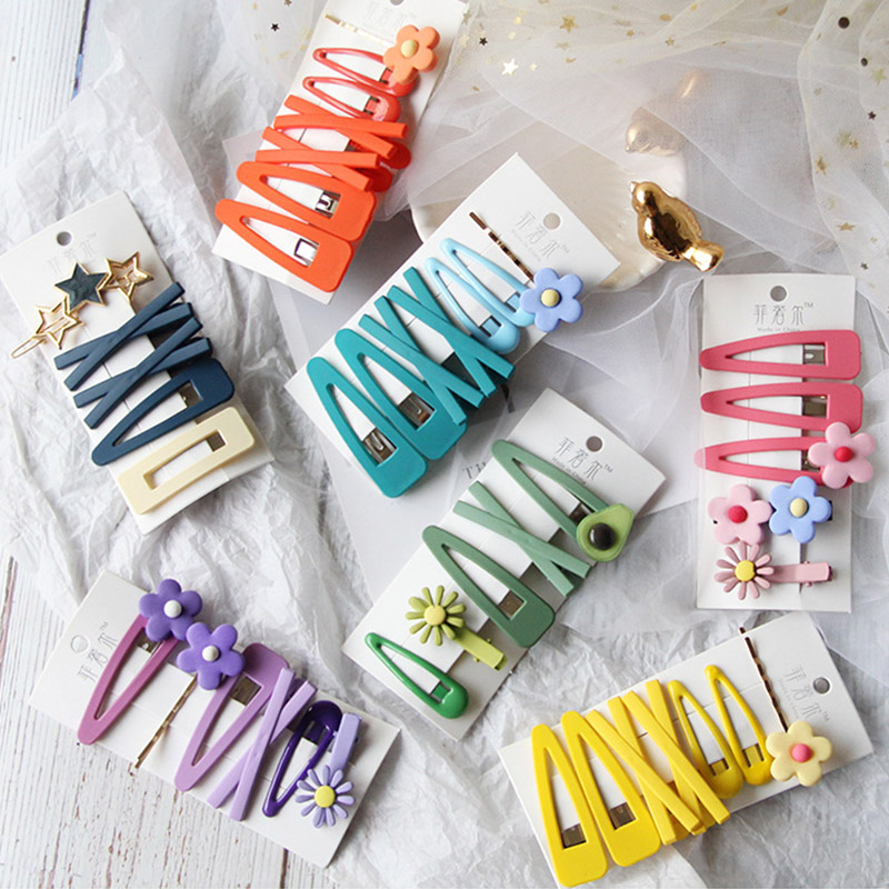 7/5Pcs/Set Korean Kids Girls Hair Clips Flower Dinosaur Avocado Bow Baby Girls Hair Accessories Candy Color Hair Pins Girls Gift