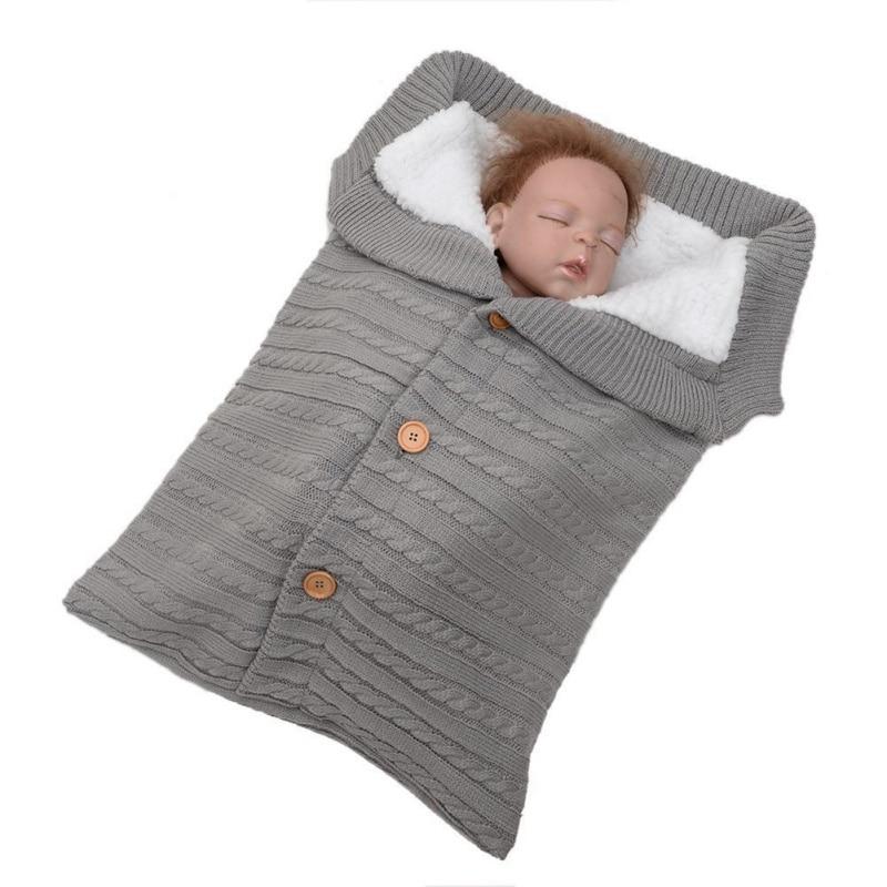 Newborn Baby Swaddling Stroller Wrap Winter Warm Sleeping Bags Infant Button Knit Swaddle Wrap Toddler Blanket Sleeping Bags