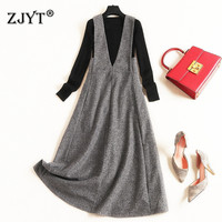 Fashion New 2019 Fall Winter Dresses for Women Elegant Long Sleeve Black Knit Top and Tank Woolen Dress 2piece Set Casual