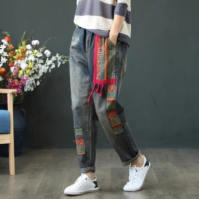 #4615 Women Jeans Elastic Waist Casual Vintage Loose High Waist Patchwork Denim Harem Boyfriend Jeans For Women Loose Embroidery