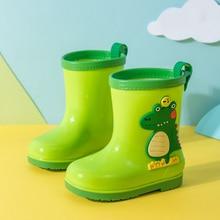 Kids Rain Boots PVC Cartoon Dinosaur Boys Rubber Boots Waterproof Girl Water Shoes Children Rainboot Baby Non-slip Boots