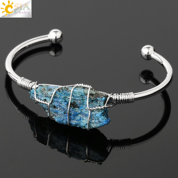 CSJA Natural Stone Bangle Gold-color Wire Wrap Irregular Crystal Quartz Cuff Copper Bracelets for Women Girls Kids Jewelry G327 9