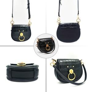 Image 3 - Genuine Leather  Tess Saddle  Woman Fashion Crocodile Pattern Womens Real Leather Luxury Brand Shoulder Purse