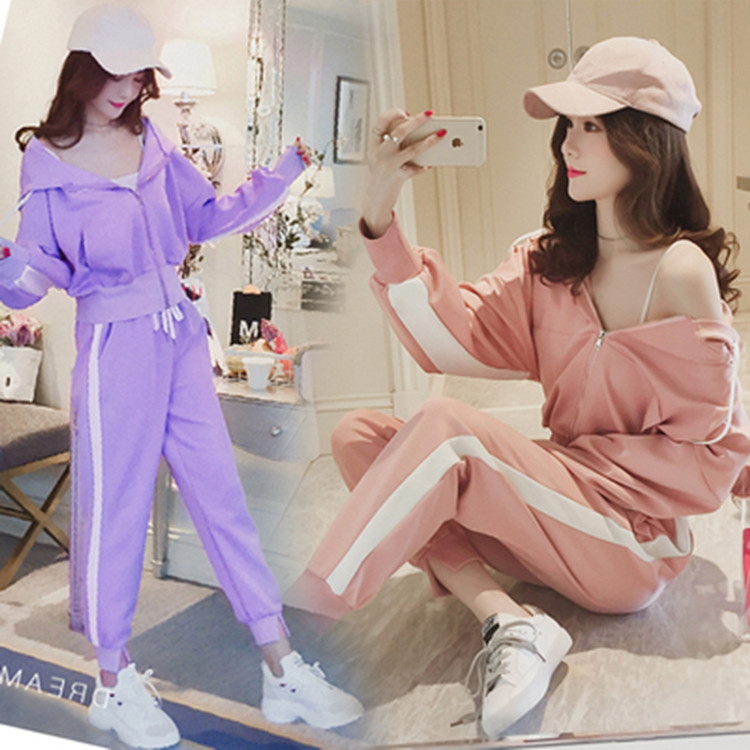 Women's Clothing Even Midnight Motion Tracksuit Suit Sweater Solid Color Long-sleeved Trousers Loose Leisure Twinset  2PCS Set