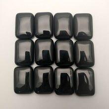 25x18MM Natur Stein Rechteck Schwarz Onyx cab cabochon für schmuck machen perlen 12 teile/los Freies verschiffen keine loch Großhandel