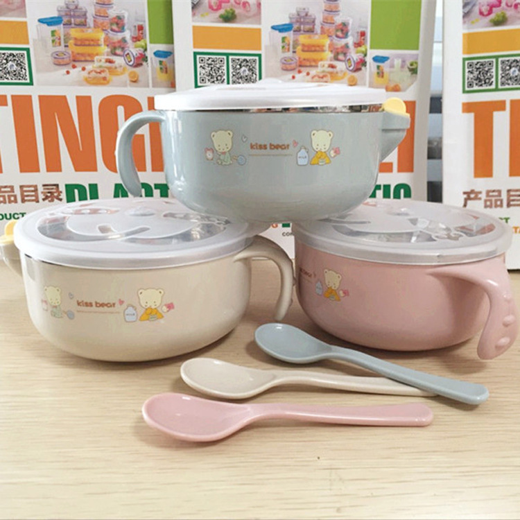 New Style Stainless Steel Water Injection Thermal Insulation Bowl Infant Solid Food Bowl Stainless Steel With Shatter-resistant
