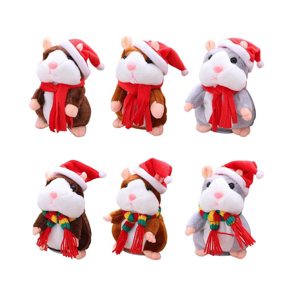Christmas Recording Electric Hamster Speak Talking Speaking Sound Walking Record Repeat Stuffed Plush Toy for Kids Gift