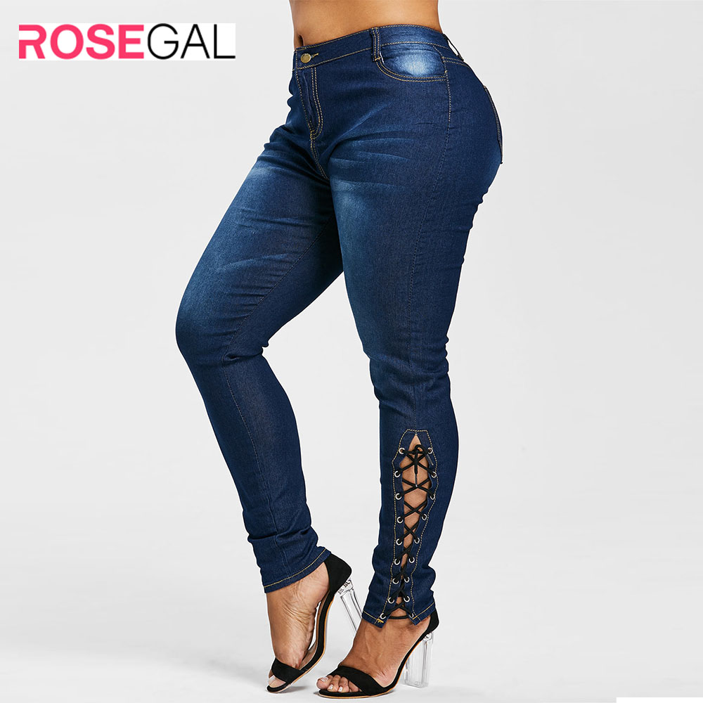 ROSEGAL Plus Size Zipper Fly Side Lace Up Jeans Skinny High Waist Pockets Denim Pant Women Jeans Pencil Pants Big Size Trousers