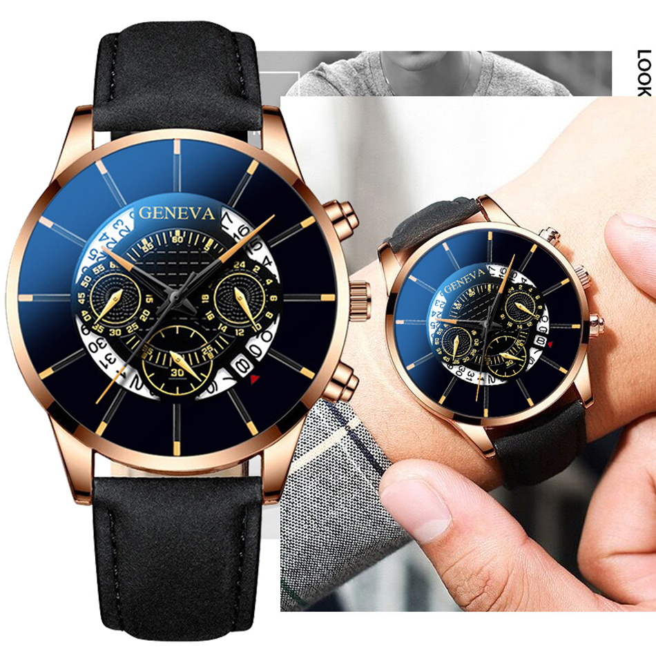 Reloj Hombre Mens Fashion Watches Military Sport Date Calendar Quartz Wrist Watch Men Casual Leather Watches Relogio Masculino