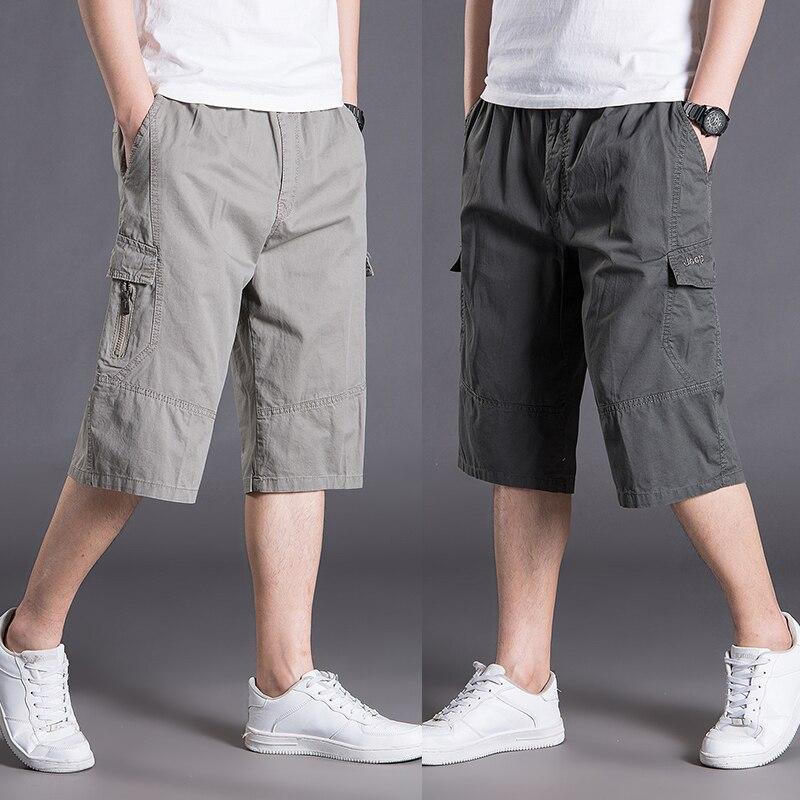 Cotton Men Shorts Casual Summer Sport Streetwear Cargo Shorts With Pockets Baggy Thin Homens Kleding Short Sweatpants XX60MS