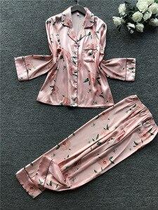 Image 1 - 2019 Autumn New Printing Fashion Pajamas Long Sleeve Stain High Quality Pyjamas Cardiagan Trousers Twinset Sleepwear