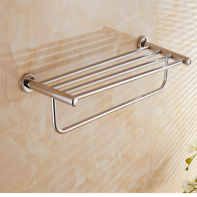 Bathroom SUS304 Stainless Steel Towel Rack Bathroom Towel Rack Wall Hangers Storage Shelf To Undertake Engineering Hotel