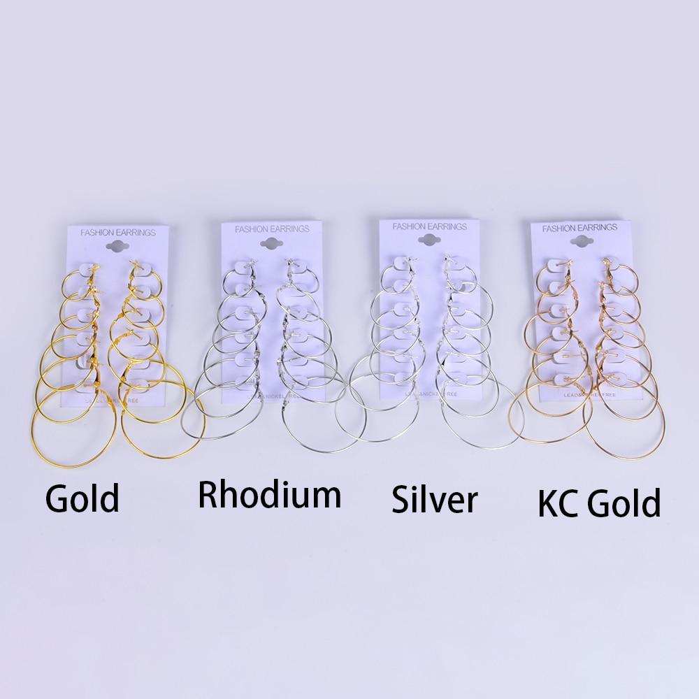 6 Pairs Big Earrings Pin Hoop Circle Earring Hooks Fashion Ladies Large Circle Earrings Set Gift For Women Findings Jewelry