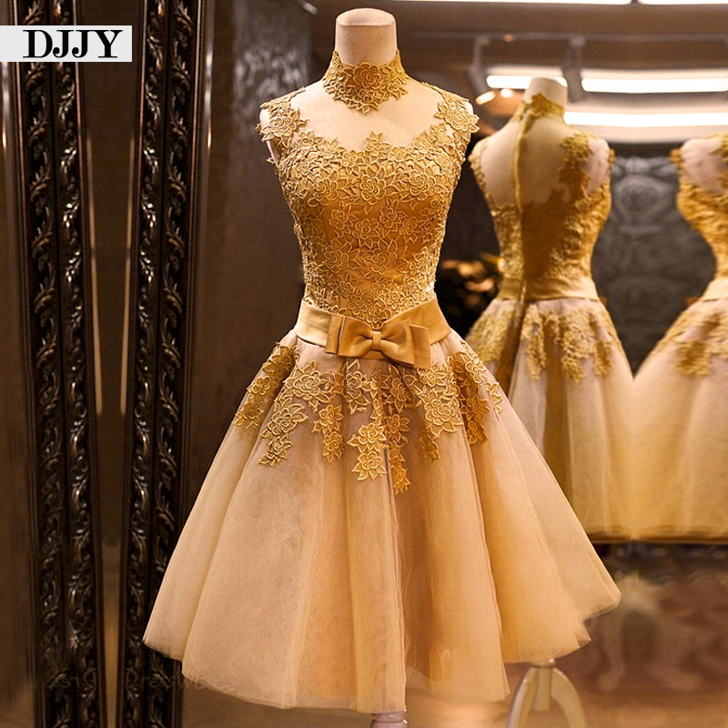 Elegant Gold Lace Evening Dress Short Formal Dress Custom Party Dresses Fast Delivery