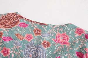 Image 3 - VINTAGE Chicผู้หญิงRayon Beachพิมพ์ดอกไม้พิมพ์Bohemianเสื้อผู้หญิงV Neckพัฟแขนเสื้อลูกไม้ขึ้นเสื้อหลวมBohoเสื้อ