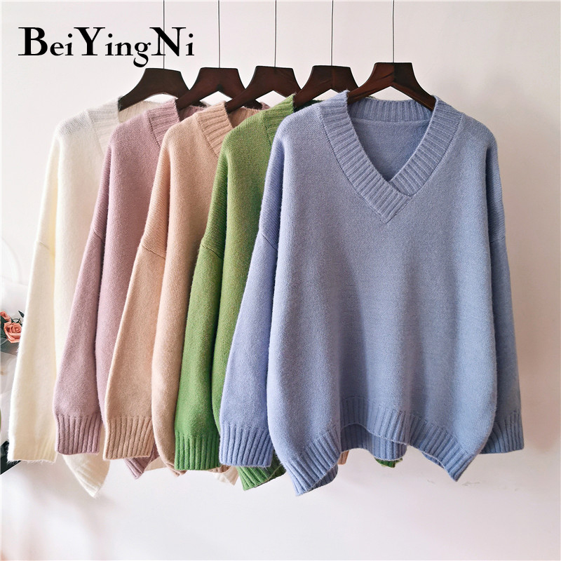Beiyingni Plus Size Sweater Women Thick Korean Casual White Knitted Jumper Female V-neck 2019 Autumn Winter Pullover Woman Warm