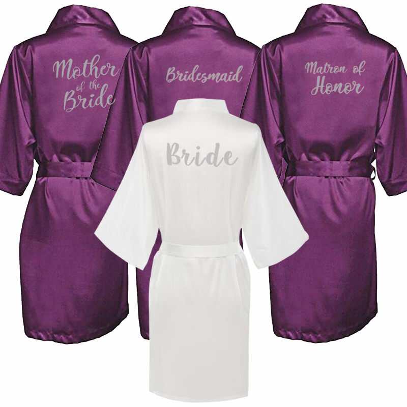 New Purple Robe Silver Writing Mother Of The Groom Robes Wedding Short Bride Kimono Bridesmaid Satin Robe Drop Shipping