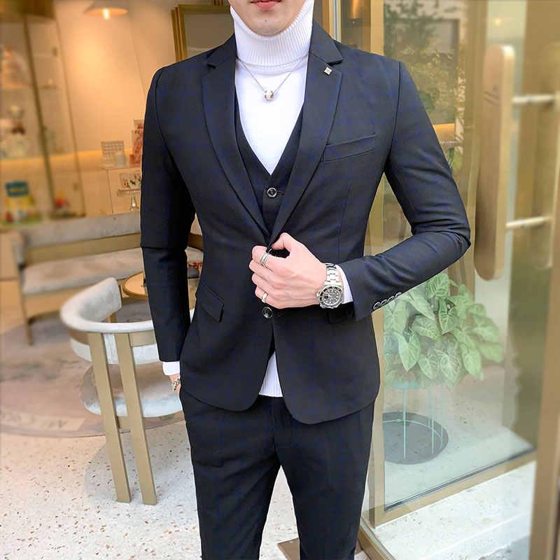 남자 드레스 정장 영국 3 조각 남자 웨딩 정장 새로운 2020 가을 망 사업 정장 격자 무늬 정장 남자 럭셔리 슬림 맞는 드레스