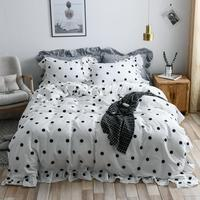 4 Pieces Twn Queen size 100%Cotton Bedding Set Luxury White Black Grey Ruffle Duver cover Ultra Soft Bed sheet pillow shams