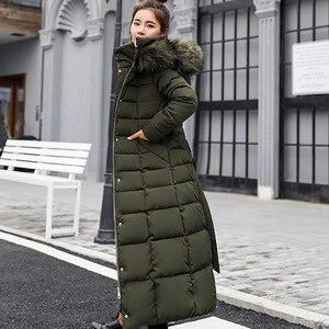 Image 5 - חדש מרופד מעיל 2019 ארוך אופנה חורף מעיל נשים עבה למטה מעיילי נקבה Slim פרווה צווארון החורף חם מעיל נשים