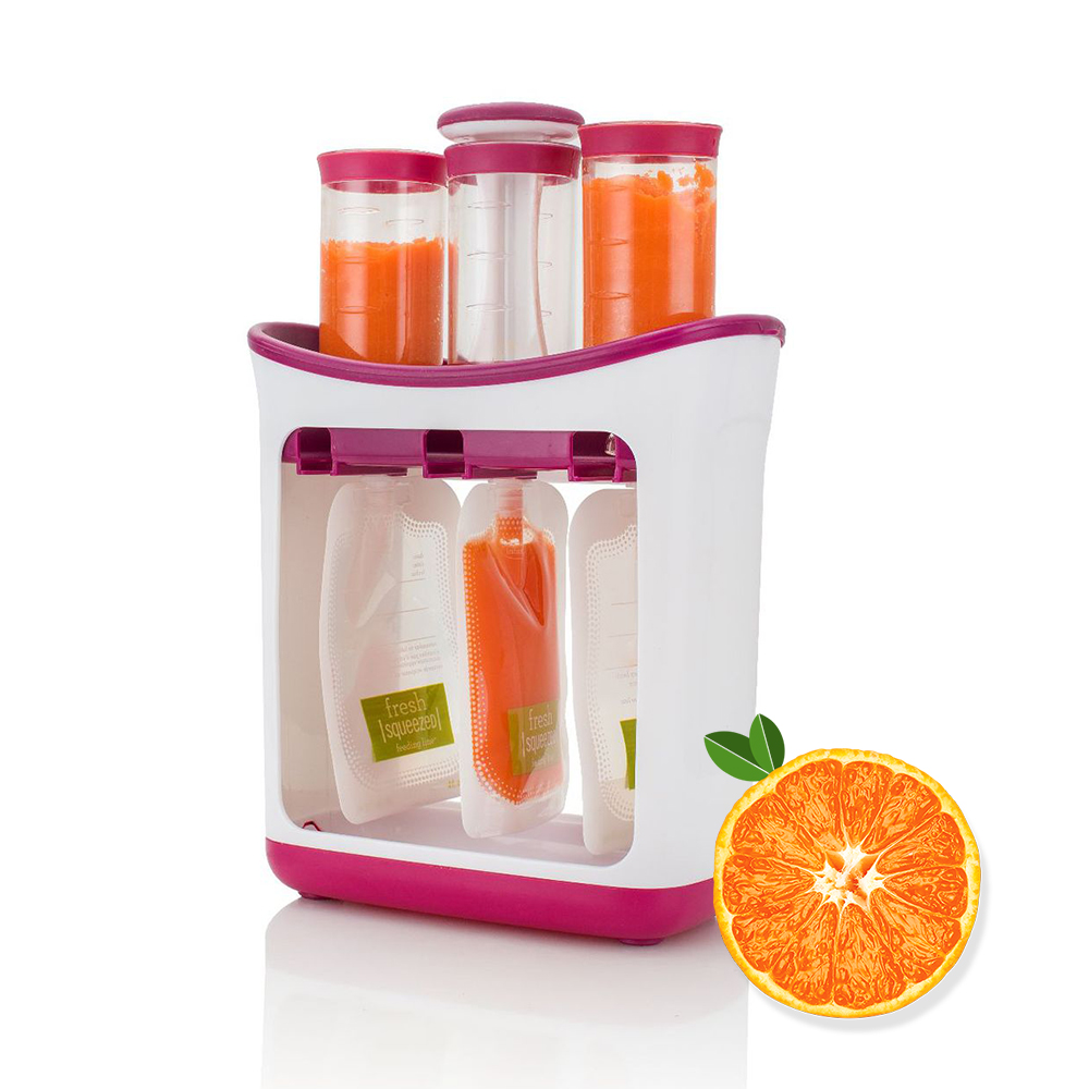Baby Food Container Children Fresh Squeezed Fruit Juice Station Kids Fruit Puree Packing Machine Toddler Food Mashing Station