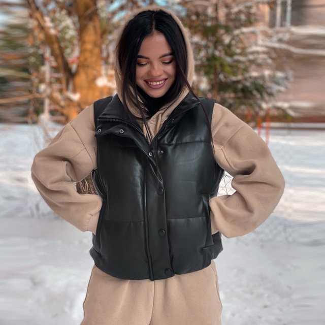 2021 Autumn Winter Women Black Faux Leather Jackets Fashion Zipper Sleeveless Coat Tops Female Casual Warm Outwear Ladies 2