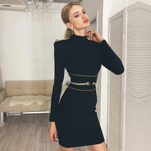 Adyce 2020 Neue Winter Schwarz Verband Kleid Frauen Sexy Langarm Mini Club Kleid Vestidos Elegante Promi Abend Party Kleid