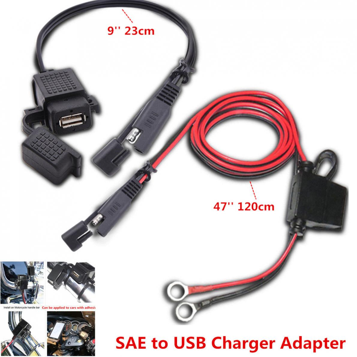 12V Waterproof Motorcycle SAE to USB Phone GPS MP4 Charger Cable Adapter Motorbike Inline Fuse Power Supply