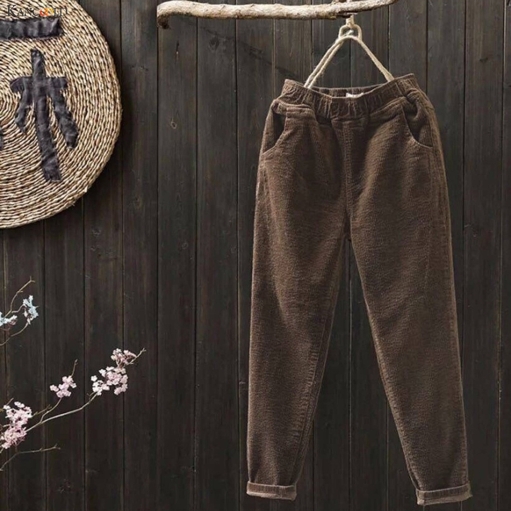 KANCOOLD Pants Fashion Women Plus Size Corduroy Elastic Waist Pocket Harem Pants Long Casual Loose New Pants Women 2019Oct29