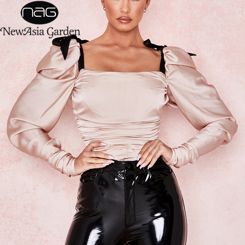 NewAsia Bow Strap Elegant Bodysuit Women Long Sleeve Satin Jumpsuits Sexy Bodysuits Ruched Romper Shirts Body Tops Overalls New(China)