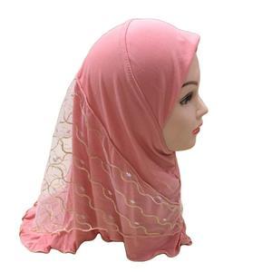 Image 3 - One Piece Amira Muslim Kids Girls Mesh Hat Headscarf Shawl Wrap Islamic Prayer Hijab Ramadan Cover Headwear Caps Middle East