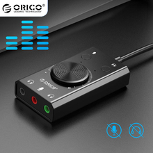 ORICO SC2 External USB Sound Card 3 Ports Stereo Mic Speaker Headset Adapter Mute Switch Volume Adjustment Free Drive