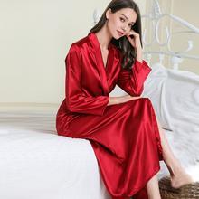 Sexy women extra long bathrobe Silky Satin robe Charming Women's Lengthened Casual Bathrobe Long Sleeved Robe Homewear