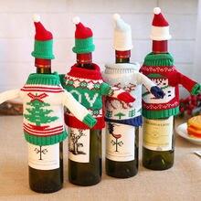 Cubierta antipolvo para botella de vino de Papá Noel, muñeco de nieve, alce, árbol, decoración de Navidad para el hogar, regalo de Navidad 2021, 2020