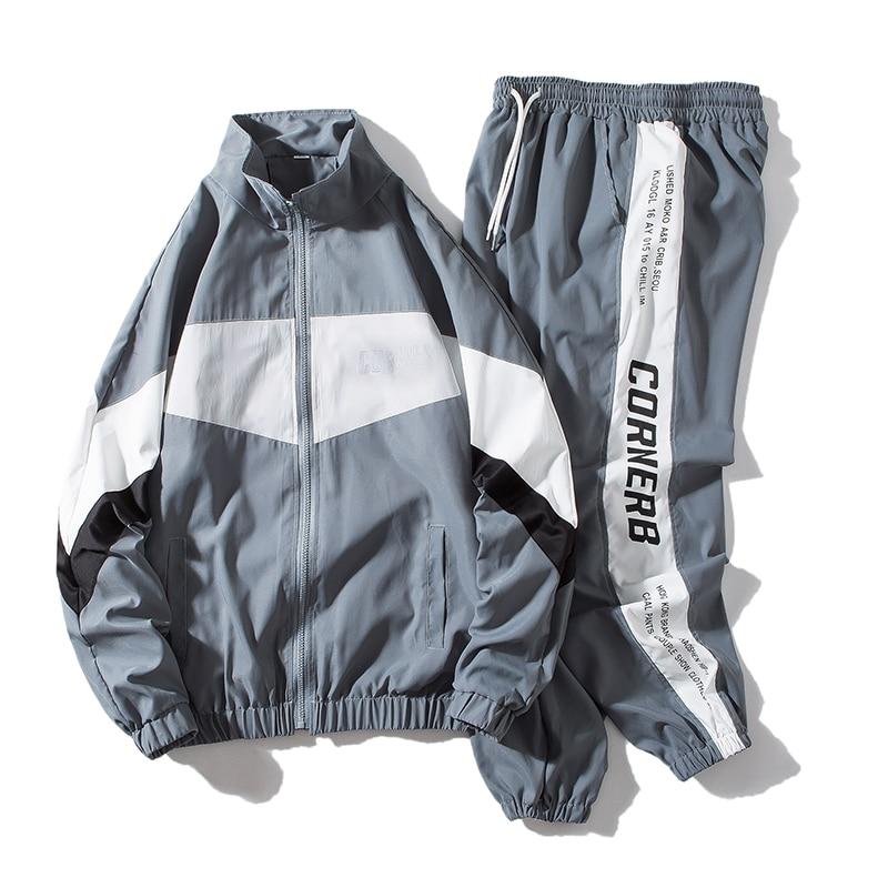 Clearance SaleTracksuit Mens Clothing Harem-Pants Hip-Hop 2pieces-Sets Streetwear Man And ABZ551 Jacets