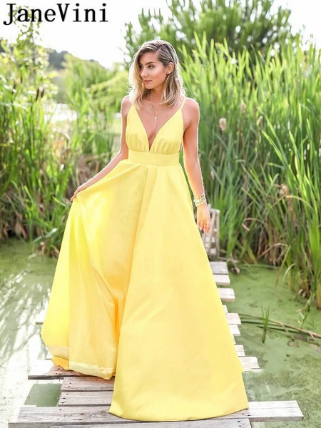 JaneVini Sexy Yellow Long Evening Dresses Robe Satin Simple A Line Spaghetti Straps Deep V-neck Backless Ladies Prom Gowns 2020